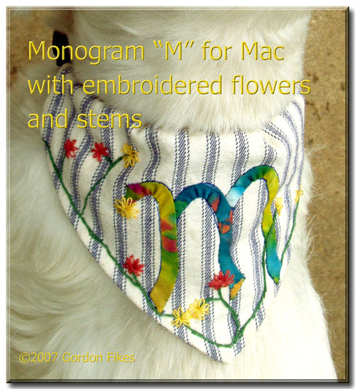 Applique Monogram and Embroidered Bandana